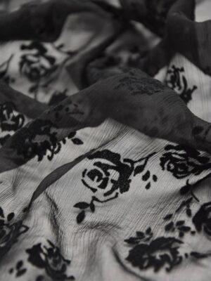 Шифон шелк Деворе креш черный с розами (3322) - Фото 12
