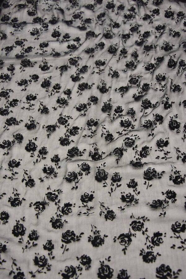 Шифон шелк Деворе креш черный с розами (3322) - Фото 8