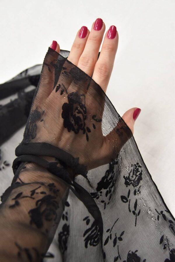 Шифон шелк Деворе креш черный с розами (3322) - Фото 9