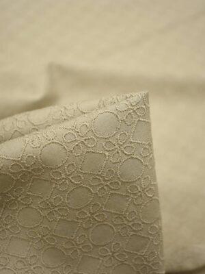 Хлопок с вышивкой бежевый геометрический узор (3755) - Фото 20