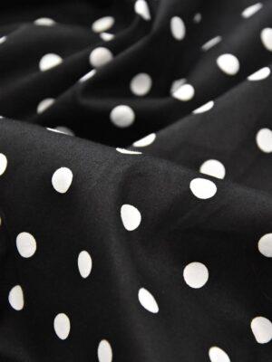 хлопок стрейч белый горох на черном (4156) - Фото 14