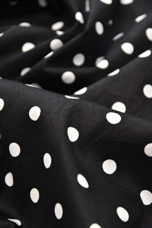 хлопок стрейч белый горох на черном (4156) - Фото 7