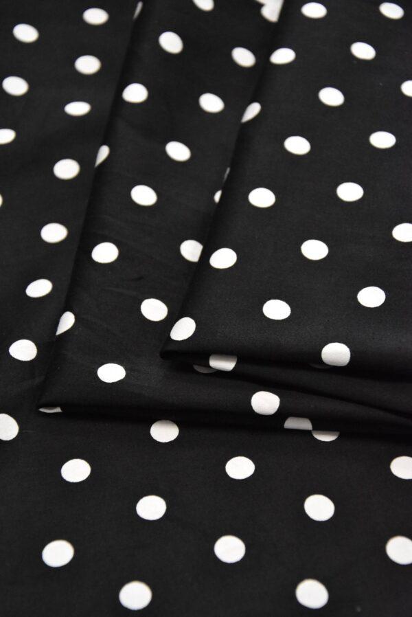 хлопок стрейч белый горох на черном (4156) - Фото 9