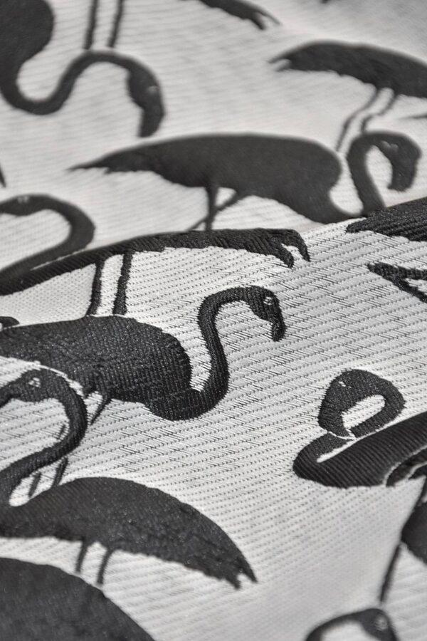 Жаккард 3Д черные фламинго на светло сером фоне (4197) - Фото 7