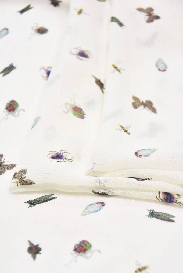 Марлевка вискоза жучки бабочки на молочном (4231) - Фото 8