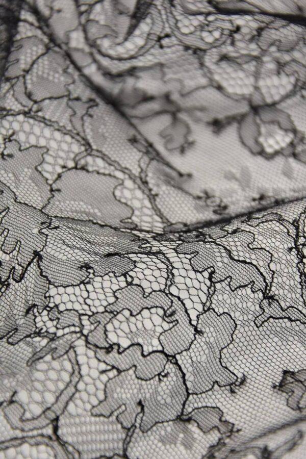 Французское кружево шантильи стрейч черное (4447) - Фото 9