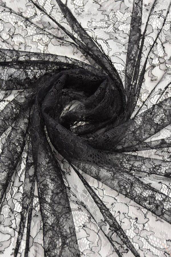 Французское кружево шантильи стрейч черное (4447) - Фото 8
