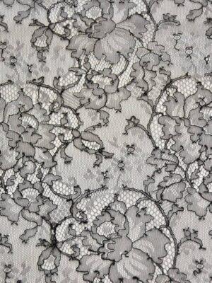 Французское кружево шантильи стрейч черное (4447) - Фото 13