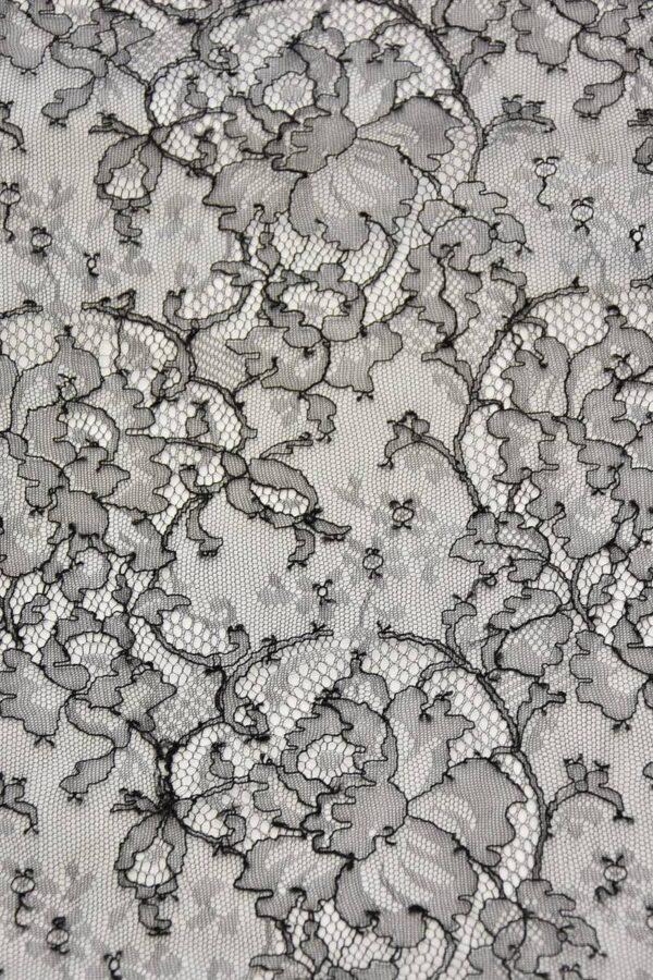 Французское кружево шантильи стрейч черное (4447) - Фото 7