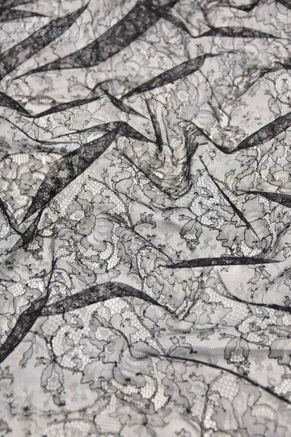 Французское кружево шантильи стрейч черное (4447) - Фото 6