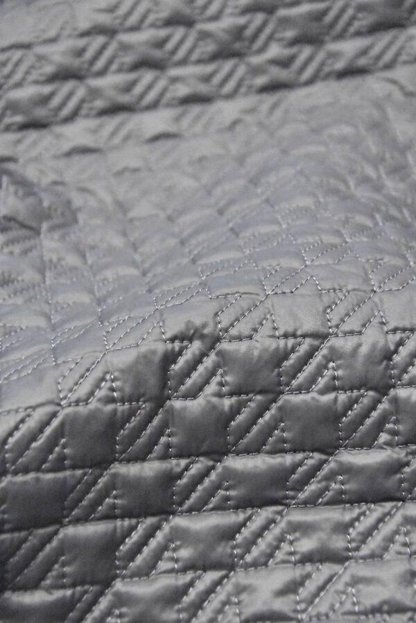 Курточная стеганая серая в мелкую куриную лапку (4830) - Фото 8