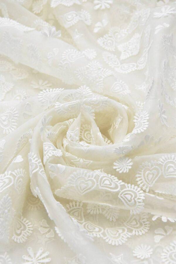 Органза шелк с вышивкой звездочки сердечки молочная (4832) - Фото 7