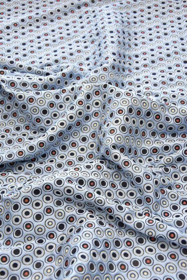 Жаккард голубой фон красный черный белый горох (5049) - Фото 6