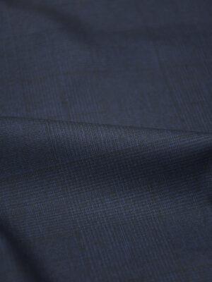 Костюмная шерсть стрейч темно-синяя в едва заметную клетку (5081) - Фото 12