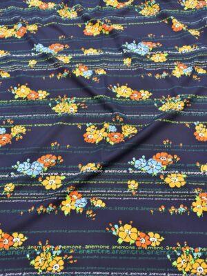 Штапель темно-синий с цветами и надписями (5154) - Фото 18
