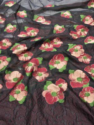 Органза с вышивкой цветы в трех расцветках (5551) - Фото 14