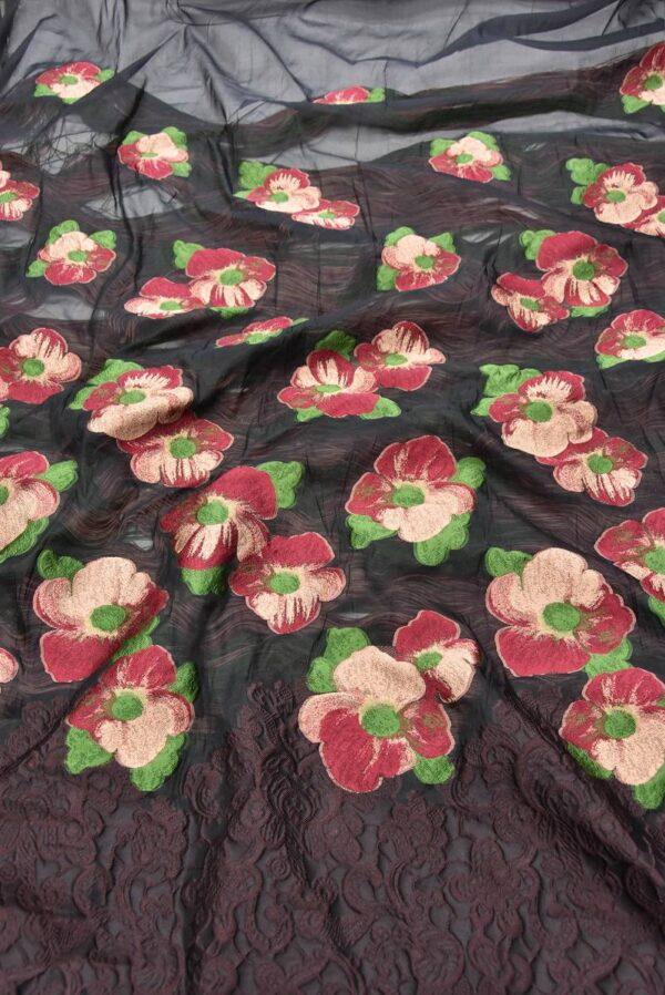 Органза с вышивкой цветы в трех расцветках (5551) - Фото 6