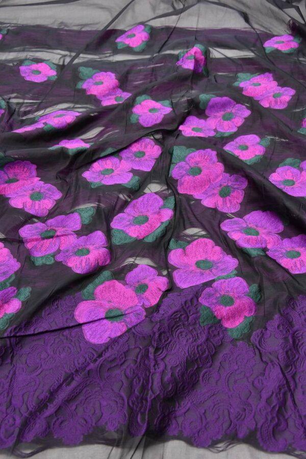 Органза с вышивкой цветы в трех расцветках (5551) - Фото 7