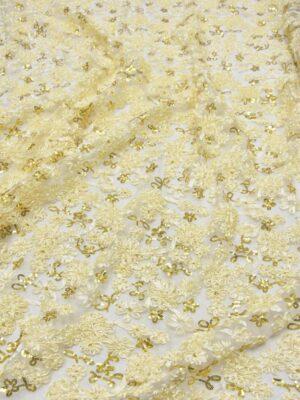 Кружево ванильное с 3Д цветами из атласных лент (5568) - Фото 20