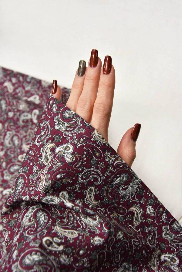 Хлопок рубашечный Пейсли на сливовом фоне (5601)_5