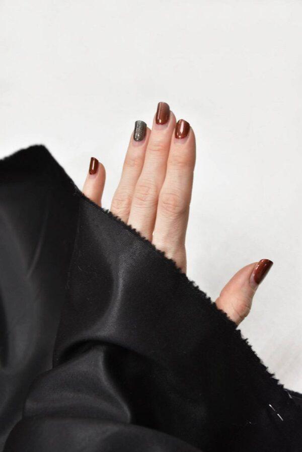 Костюмная шерсть с шелком черная глянцевая (5665) - Фото 10