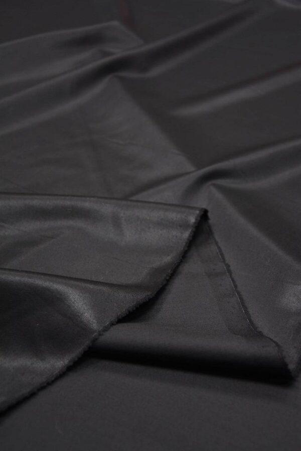 Костюмная шерсть с шелком черная глянцевая (5665) - Фото 9