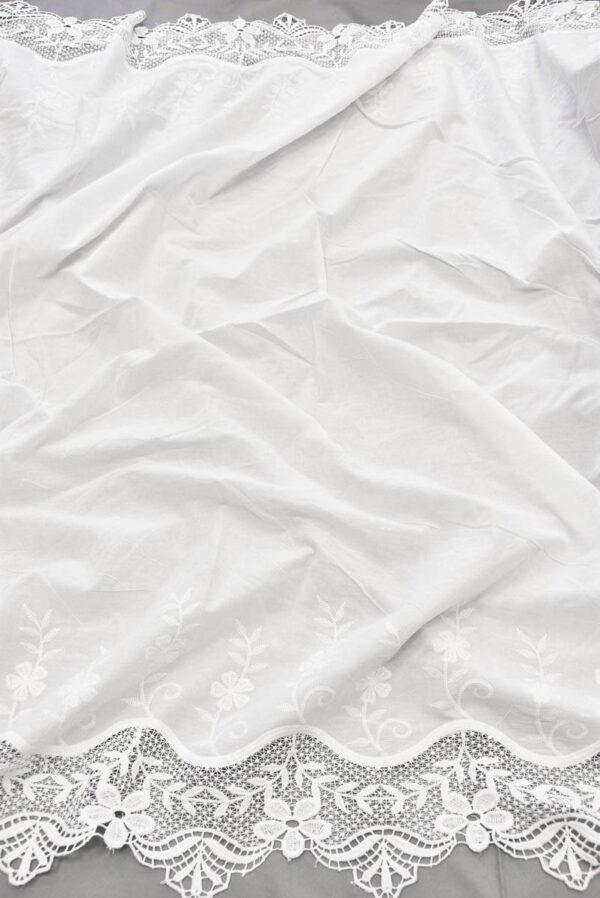 Хлопок белый с вышивкой и кружевной каймой (5810) - Фото 6