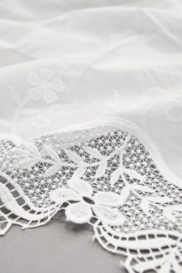 Хлопок белый с вышивкой и кружевной каймой (5810) - Фото 7