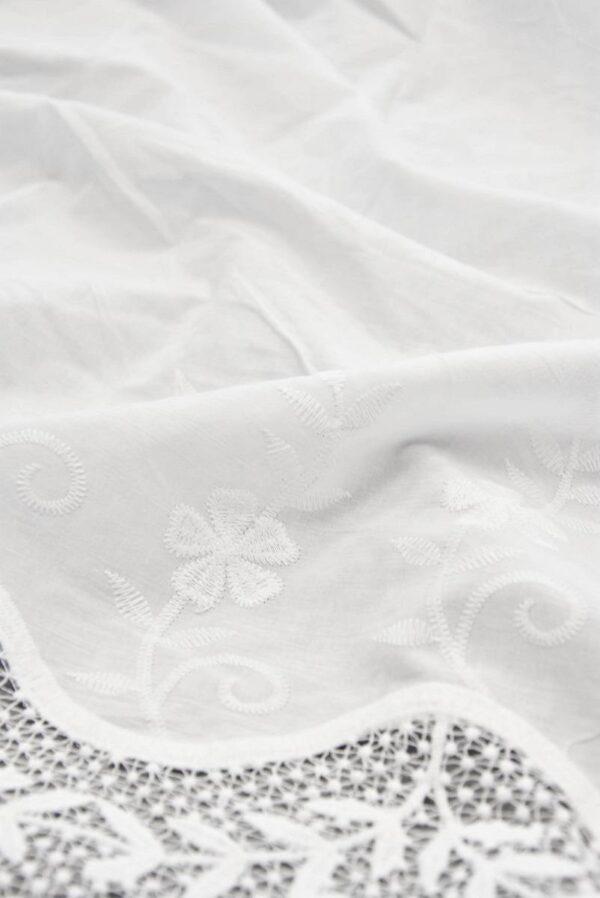 Хлопок белый с вышивкой и кружевной каймой (5810) - Фото 10