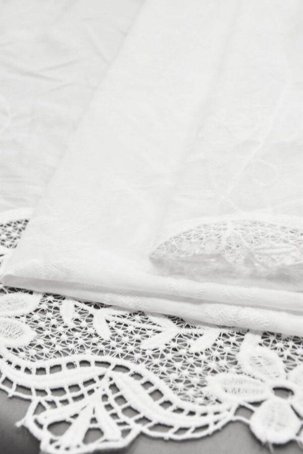 Хлопок белый с вышивкой и кружевной каймой (5810) - Фото 9