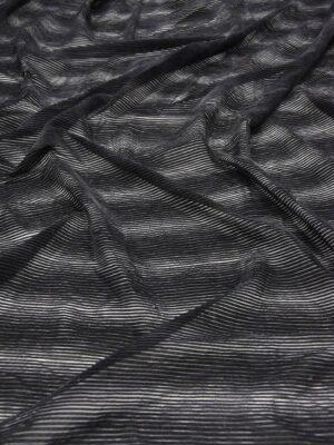 Бархат Деворе черный в полоску (5936) - Фото 15