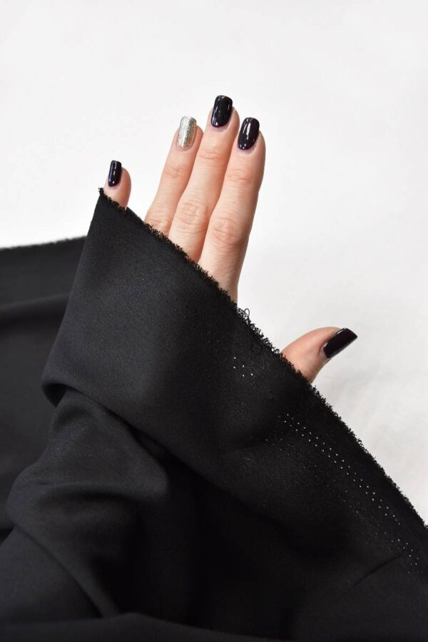 Креп плательный черный тонкий матовый (5991) - Фото 10