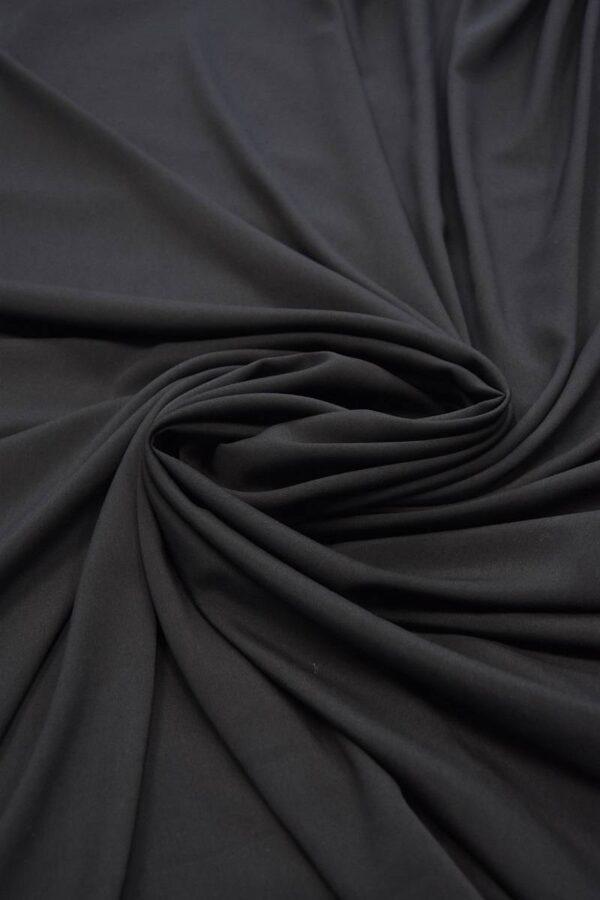 Креп плательный черный тонкий матовый (5991) - Фото 7