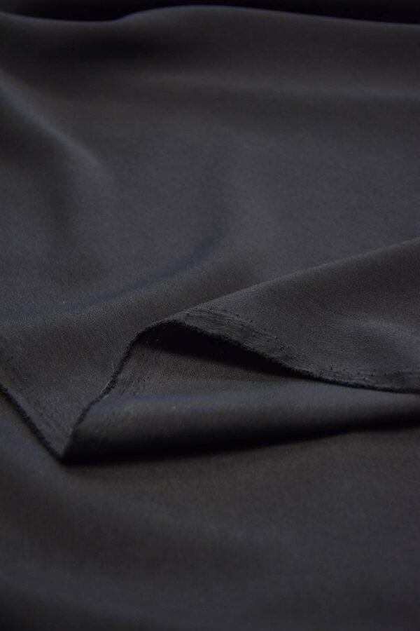 Креп плательный черный тонкий матовый (5991) - Фото 9