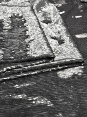 Пайетки серый/серебро на трикотажной основе (6005) - Фото 13