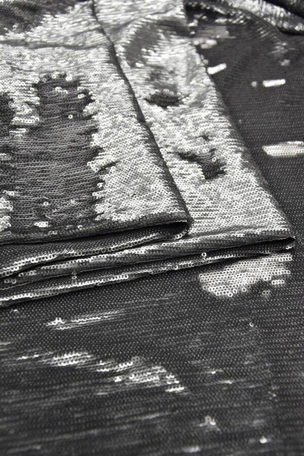 Пайетки серый/серебро на трикотажной основе (6005) - Фото 7