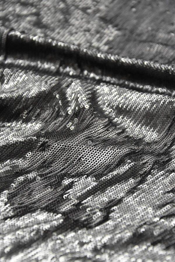 Пайетки серый/серебро на трикотажной основе (6005) - Фото 9