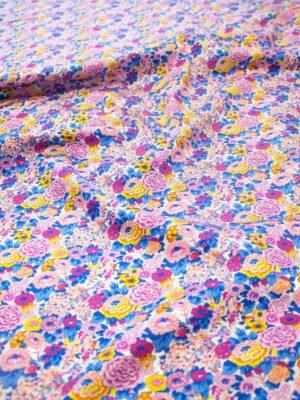 Хлопок цветочное поле в розовых синих желтых тонах (6300) - Фото 10