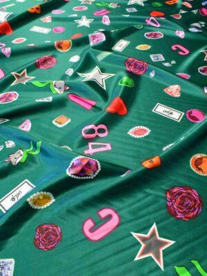 Атлас стрейч зеленый с енотами цифрами звездами (6417) - Фото 15