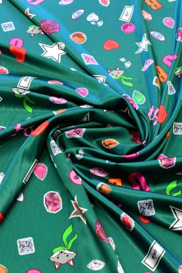 Атлас стрейч зеленый с енотами цифрами звездами (6417) - Фото 8