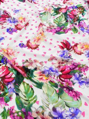 Крепдешин шелк белый с цветами и сердечками (6442) - Фото 10