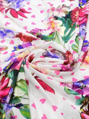 Крепдешин шелк белый с цветами и сердечками (6442) - Фото 11