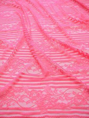 Кружево ярко-розовое в полоску с цветами (6447) - Фото 13