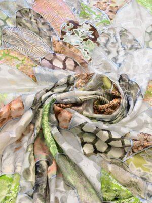 Шелк Деворе яйца фаберже в зеленых и коричневых оттенках (6476) - Фото 13