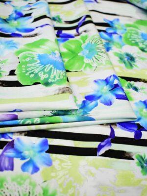 Креп стрейч полоска и орхидеи на белом (6552) - Фото 12