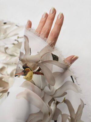 Атлас белый с цветами миндаля (6555) - Фото 13
