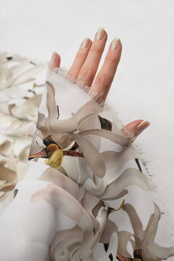 Атлас белый с цветами миндаля (6555) - Фото 7