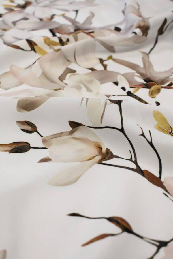 Атлас белый с цветами миндаля (6555) - Фото 9