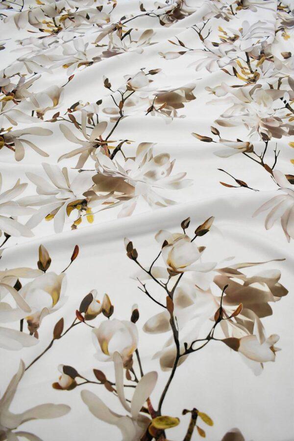Атлас белый с цветами миндаля (6555) - Фото 6