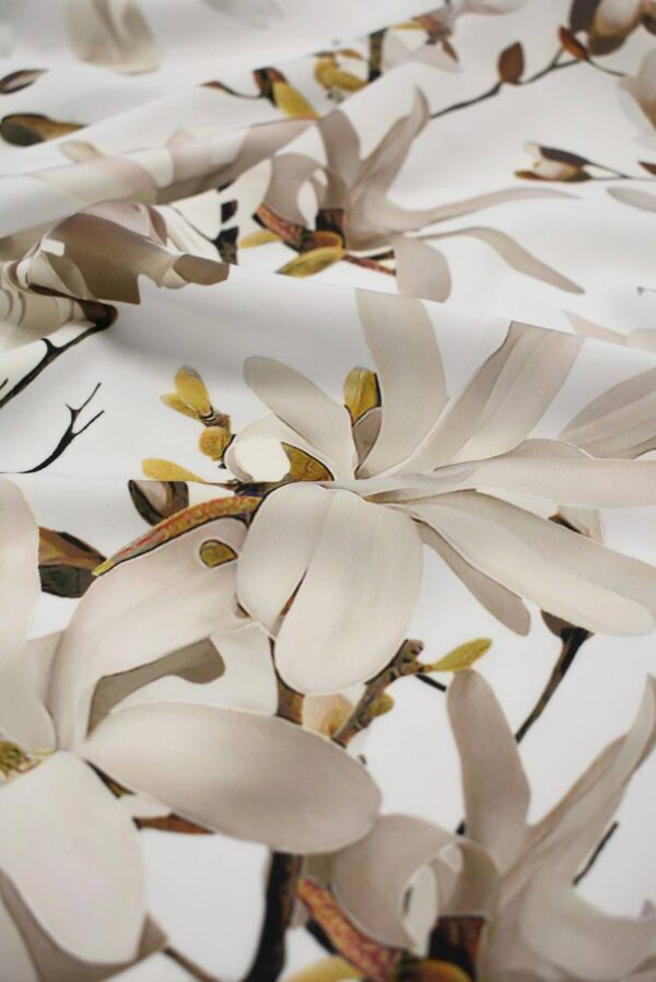 Атлас белый с цветами миндаля (6555) - Фото 11